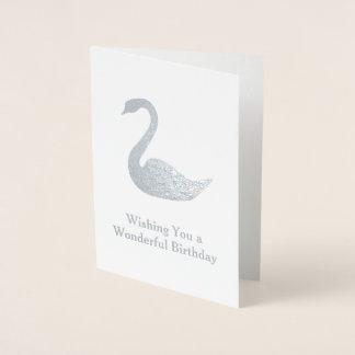 Sliver Swan Motif - Your Text on an Elegant Foil Card