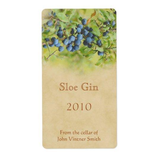 Sloe gin bottle label shipping label
