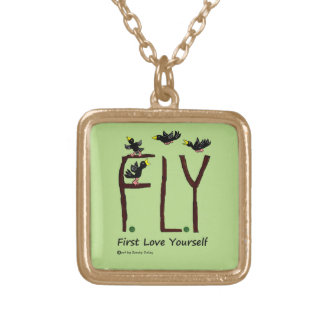 Slogan FLY First Love Yourself Gold Plated Necklace
