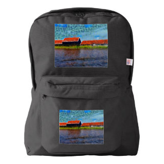 Sloping red roofs backpack