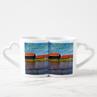 Sloping red roofs coffee mug set