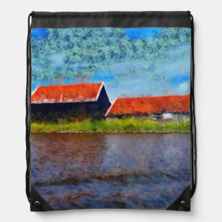 Sloping red roofs drawstring bag