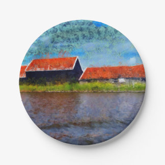 Sloping red roofs paper plate
