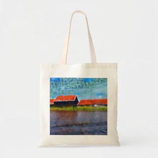 Sloping red roofs tote bag