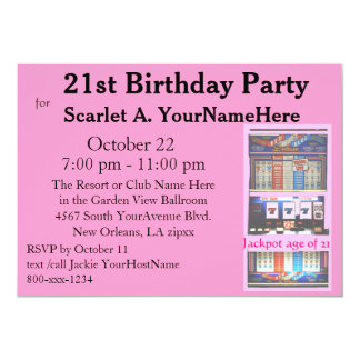 Slot Machine 21st Birthday Party Card