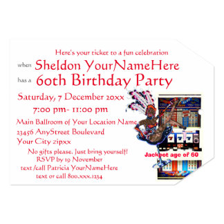Slot Machine 60th Birthday Party Card