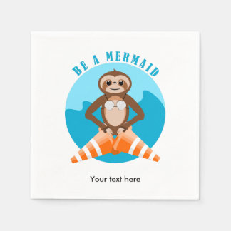 Sloth Be A Mermaid Paper Napkins