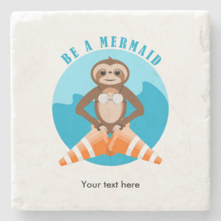 Sloth Be A Mermaid Stone Coaster