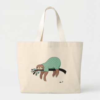 Sloth being lazy large tote bag