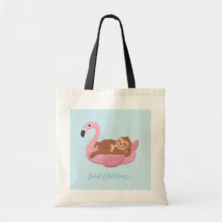 Sloth Chilling On Pink Flamingo Float Summer Tote