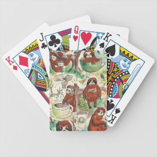 sloth coffee bicycle playing cards
