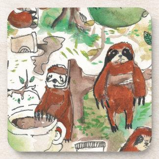 sloth coffee coaster