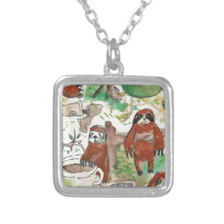 sloth coffee silver plated necklace