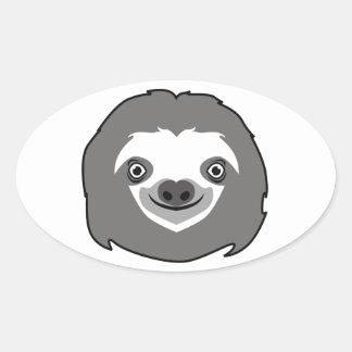 Sloth Face Oval Sticker