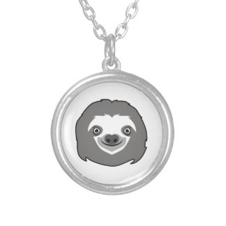 Sloth Face Silver Plated Necklace