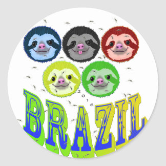 sloth faces brazil 2016 with mosquitos round sticker