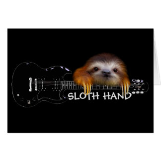 Sloth Hand Guitarist Birthday Card