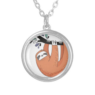 Sloth hang in there silver plated necklace
