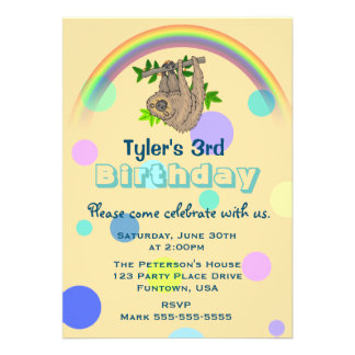 Sloth Hanging Upside Down Childs Birthday Party 13 Cm X 18 Cm Invitation Card