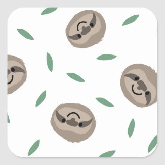 sloth happy face - pattern square sticker