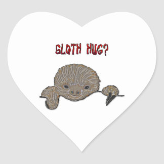 Sloth Hug Baby Sloth Heart Stickers
