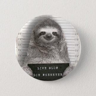 Sloth in a Mugshot 6 Cm Round Badge