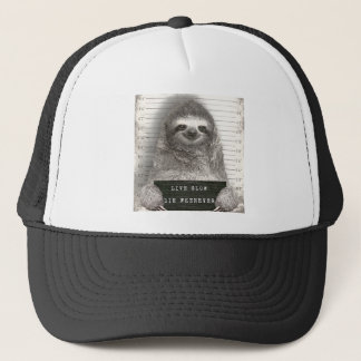 Sloth in a Mugshot Trucker Hat