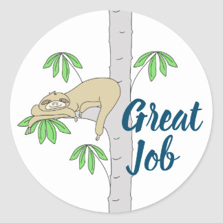 Sloth in Cecropia Tree Classic Round Sticker