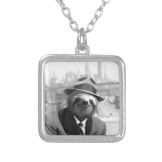 Sloth in New York Silver Plated Necklace