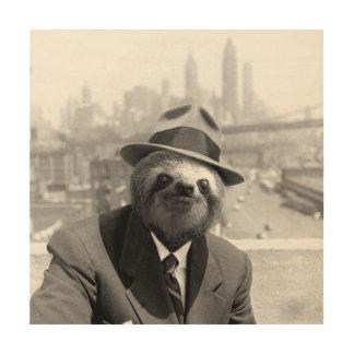 Sloth in New York Wood Print