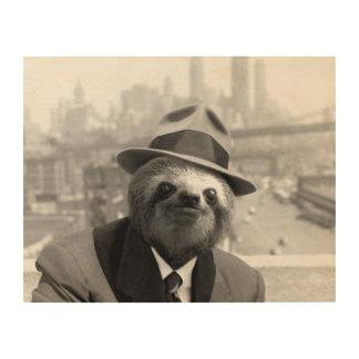 Sloth in New York Wood Wall Art
