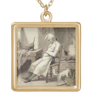 Sloth in the Kitchen, from a series of prints depi Gold Plated Necklace