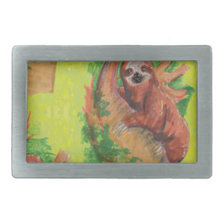sloth in the tree rectangular belt buckle
