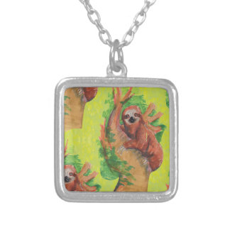 sloth in the tree silver plated necklace