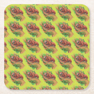 sloth in the tree square paper coaster