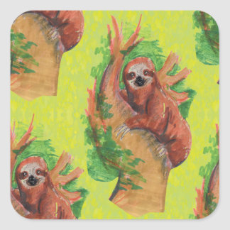 sloth in the tree square sticker