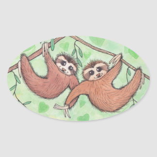 Sloth Love Valentine Oval Sticker