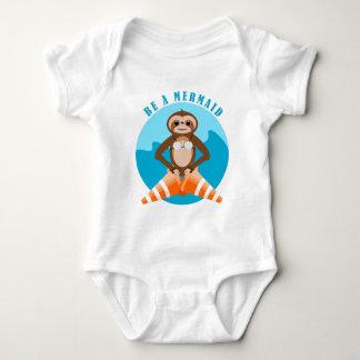 Sloth Mermaid Traffic Cone Baby Bodysuit