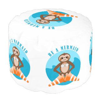 Sloth Mermaid Traffic Cone Pouf