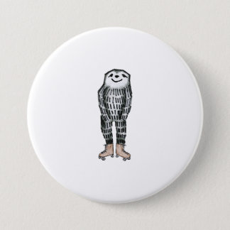 Sloth on Roller Skates 7.5 Cm Round Badge
