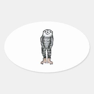 Sloth on Roller Skates Oval Sticker