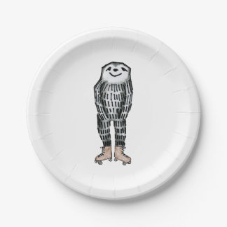 Sloth on Roller Skates Paper Plate
