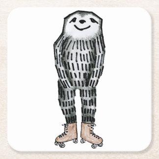 Sloth on Roller Skates Square Paper Coaster