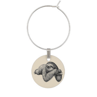 Sloth on tree wine charm