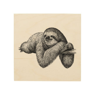 Sloth on tree wood wall art
