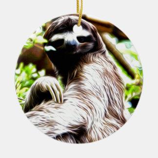 Sloth Painting Ceramic Ornament