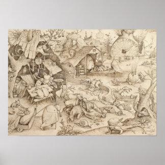 Sloth Pieter Bruegel Drawing Poster