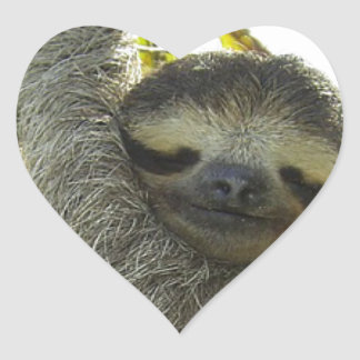 Sloth round mask heart stickers