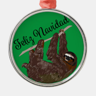Sloth Says Feliz Navidad Metal Ornament