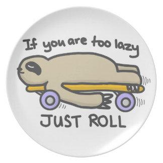 Sloth Skateboarding Plate
